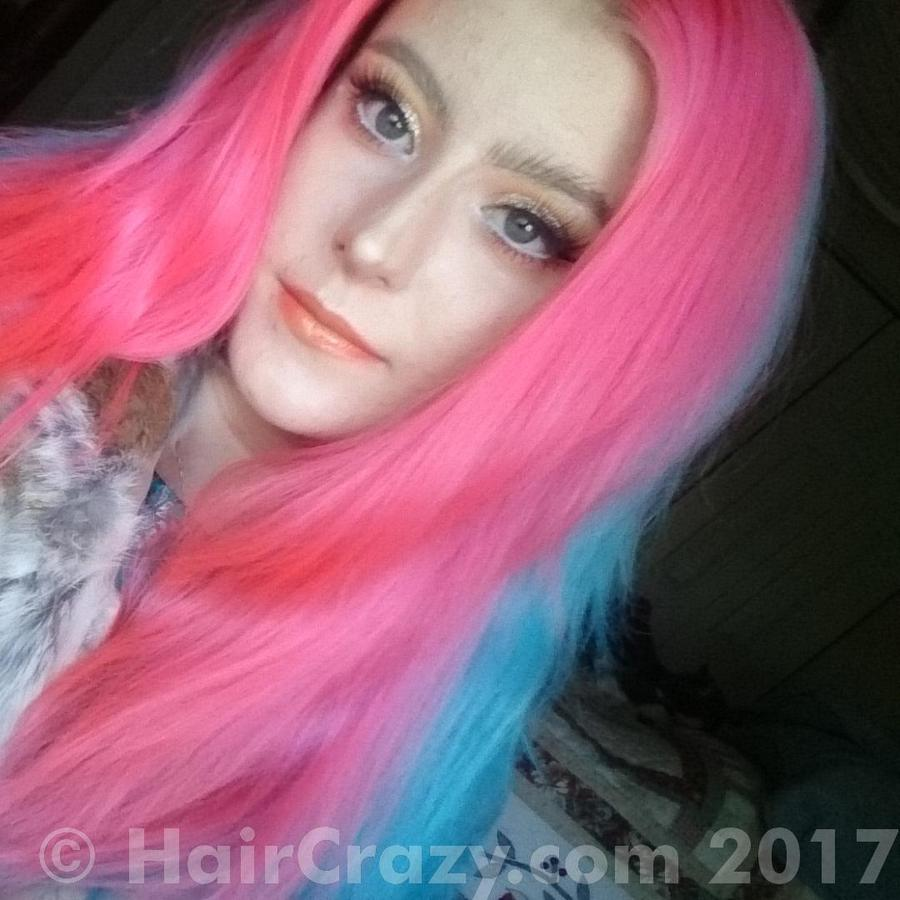 sarahlovesherhair -   - Directions Flamingo Pink   - Directions Turquoise   - Ion - Cantaloupe   - Sky Blue (Ion Color Brilliance)   - Special Effects Napalm Orange   - Stargazer Uv Pink